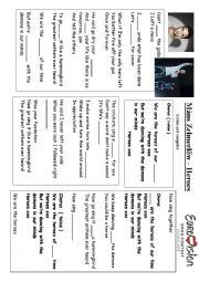 English Worksheet: Heroes song sweden mans zelmelow eurovision 2015