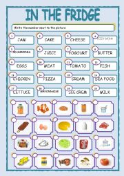 English Worksheet: IN THE FRIDGE