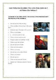 English Worksheet: Activity about the movies Avatar, Spider-man 3 and Pirates of the Caribbean 3