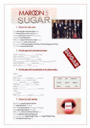 English worksheet: Song: Sugar - Maroon 5