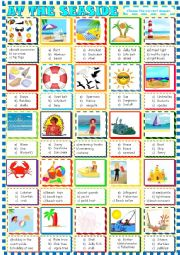 English Worksheet: At the seaside: multiple choice activity