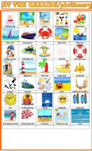 English Worksheet: At the seaside: pictionary