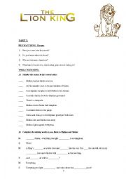 English Worksheet: Whole movie The Lion King 1 activities