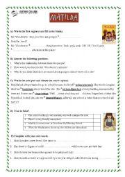Worksheet for film Matilda on Roald Dahl