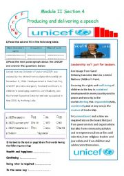 English worksheet: Module 2 Section 4 Producing and Delivering a Speech