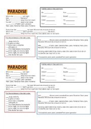 English Worksheet: Song Paradise by Coldplay