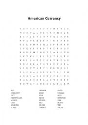 English Worksheet: American Currency Wordsearch