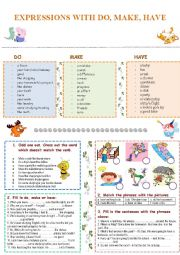 English Worksheet: Expressions with do, make and have