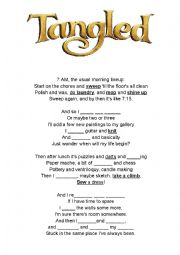 English Worksheet: Walt Disney Tangled - When will my life begin - SONG - ROUTINE