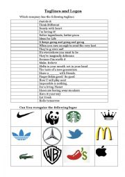 English Worksheet: taglines and logos