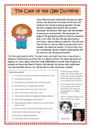 English Worksheet: The case of the ugly duckling