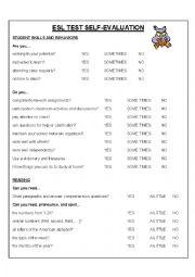 English Worksheet: Beginner-Level ESL Test Self-Evaluation