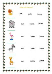 english worksheets what can they do animals and their abilities. Black Bedroom Furniture Sets. Home Design Ideas