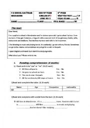 English Worksheet: english exam - 6th form