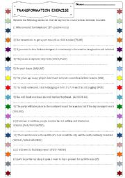 English Worksheet: Transformation exercise