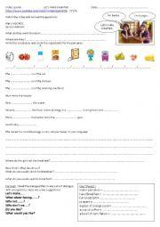 English Worksheet: Let�s make breakfast