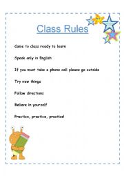 English Worksheet: ESL class rules for adults