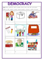 Democracy  vocabulary  2 pages and answer key included