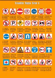 English Worksheet: Traffic Sign Test 1