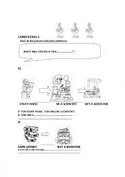 English Worksheet: conditional 1 (Oral and written activities)
