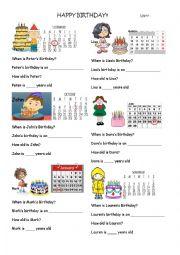 English Worksheet: Birthday Worksheet