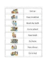 English Worksheet: Daily Routines memory game