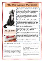 English Worksheet: The Cat that said, �Please!�