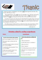 English Worksheet: reading comprehension about The Titanic