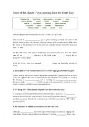 English Worksheet: The state of the Planet - 7 eye opening facts for Earth Day