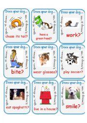 English Worksheet: Does Your Dog...? Go Fish