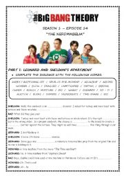 English Worksheet: BIG BANG THEORY - THE NERDMABELIA