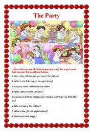 English Worksheet: The Party