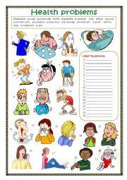 English worksheet: Health problems.