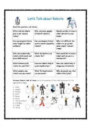 English Worksheet: Let�s Talk about Robots