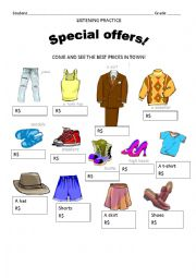 English Worksheet: Listening Activity - Prices of clothes