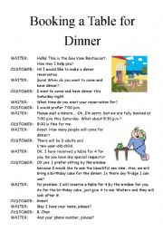 Remarkable Booking For Dinner Esl Worksheet By Laucwmatt Home Interior And Landscaping Mentranervesignezvosmurscom