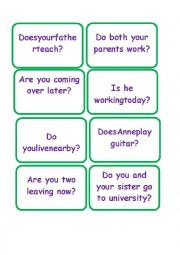 English Worksheet: Yes/No Questions Snap Card Game