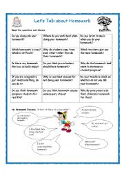 English Worksheet: Let�s Talk about Homework