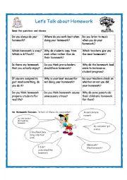 English Worksheet: Let�s Talk about Homework