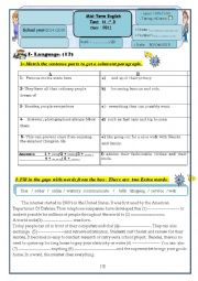 English Worksheet: English test 3    9th grade