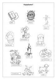 English Worksheet: Easter Simple Pictionary