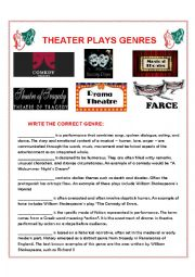 English Worksheet: Genres of Theatre Plays