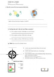 English worksheets: The Earth, test