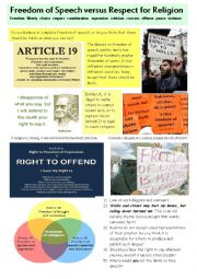 English Worksheet: Picture based discussion: freedom of expression
