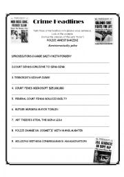 English Worksheet: Crime Passive Voice Headlines