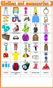 English Worksheet: Clothes and accessories, pictionary 2