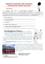 English Worksheet: PRESENT CONTINOUS AND CULTURAL INFORMATION ABOUT ENGLAND