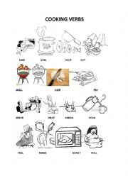 English Worksheet: cooking verbs pictionary