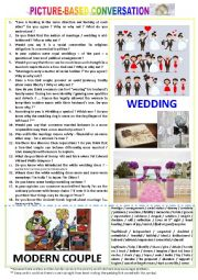 English Worksheet: Picture-based conversation : topic 91 - wedding vs modern couple.