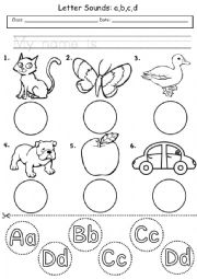 English Worksheet: abcd Letter Sounds